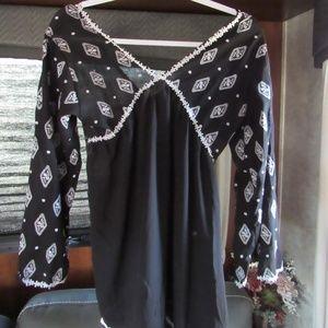 Zara Women's Low Back Flowy Long Sleeve Blouse